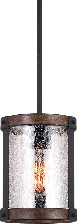 "Kira Home Hadley 9"" Modern Farmhouse Pendant Light, Crackled Glass Shade, Textured Black + Wood Style Walnut Finish"