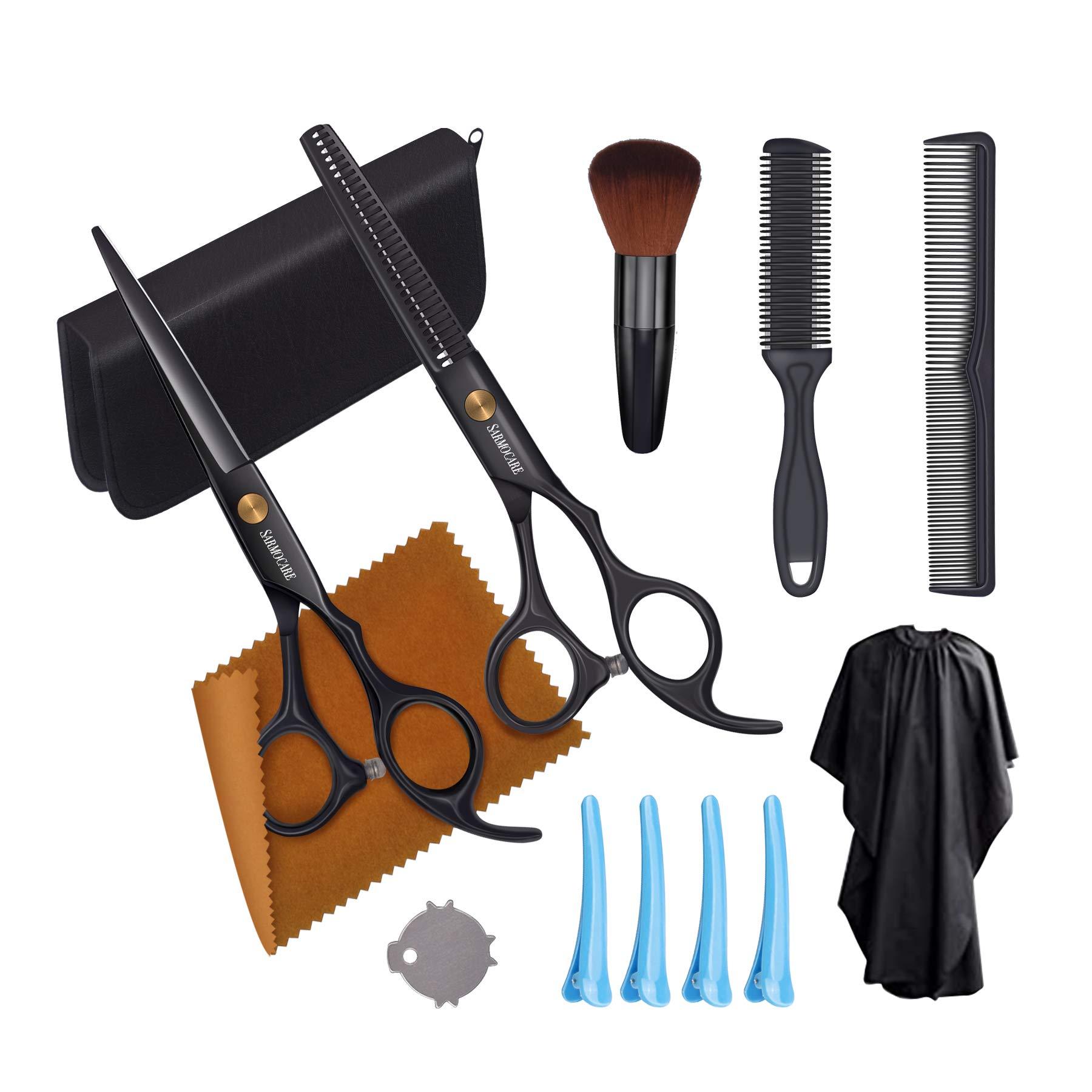 Hair Cutting Scissors Set SARMOCARE 11pcs Professional Haircut Scissors including Cutting ScissorsThinning