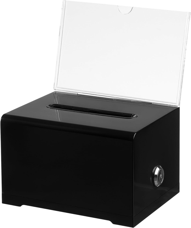 "AdirOffice 637-BLK Acrylic Donation & Ballot Box with Lock (6.25"" x 4.5"" x 4"") - Black"