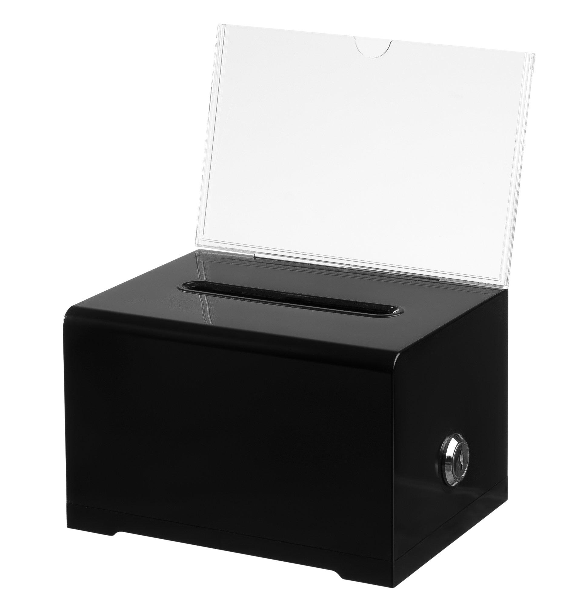 AdirOffice Acrylic Donation & Ballot Box With Lock (6.25'' x 4.5'' x 4'') - Black