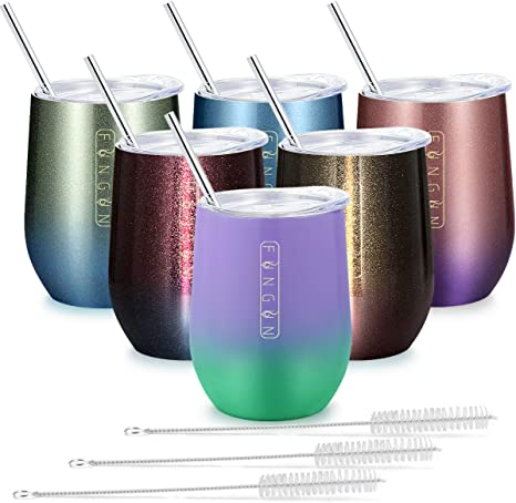 6 Pack 12 oz Stainless Steel Stemless Wine Tumbler with Leakproof Slip Lids Cocktail Drink Assorted Colors Tea and Beer Double Wall Vacuum Insulated Travel Cup Including 6 Straws Set for Coffee