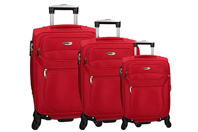 CLACSON 3 Maletas semirrígidas rojo cabina para viajes 4 ruedas VS287: Amazon.es: Ropa y accesorios