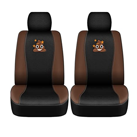 emoji front car seat covers embroidered poop emoticons, universal fit, 4pc set, brown black