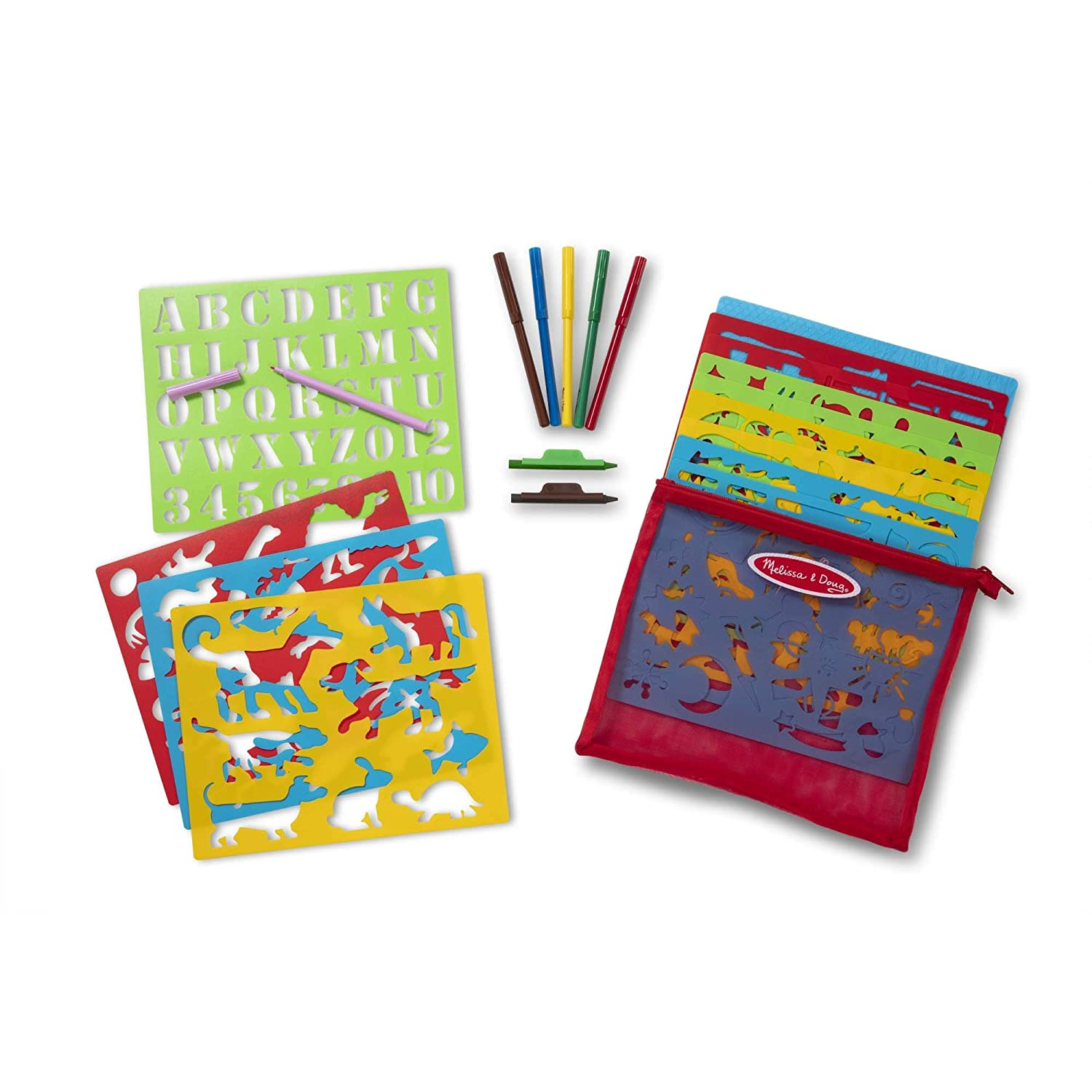170+ Designs Paper Stencil Art Coloring Activity Kit in Storage Pouch 6 Markers Melissa /& Doug Created by Me 2 Crayons