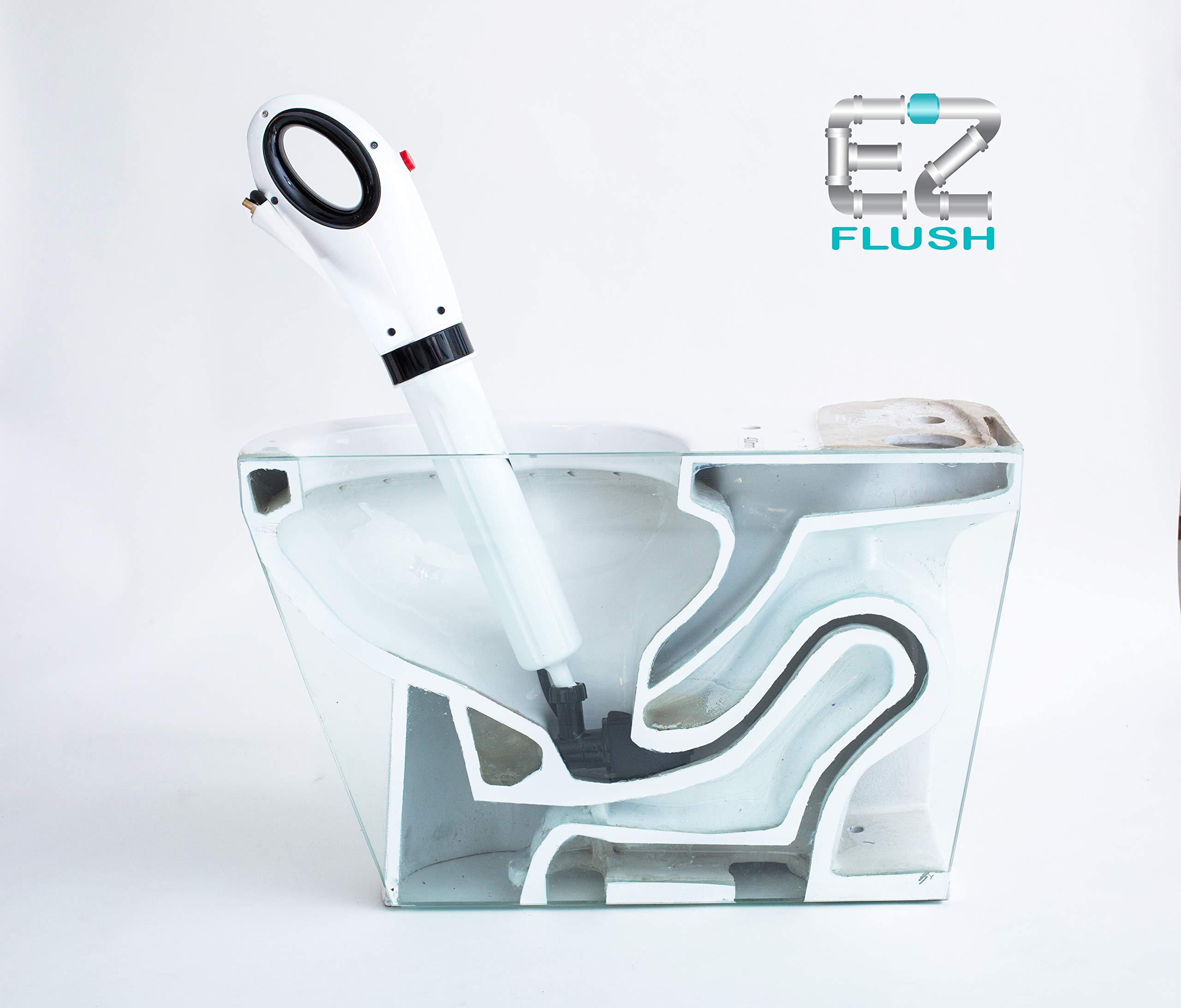 EZ Flush EZ168528 Toilet Plunger, Shower and Bath Tubs Sinks Air Pressured Professional Grade Removal Clog and Grease, White