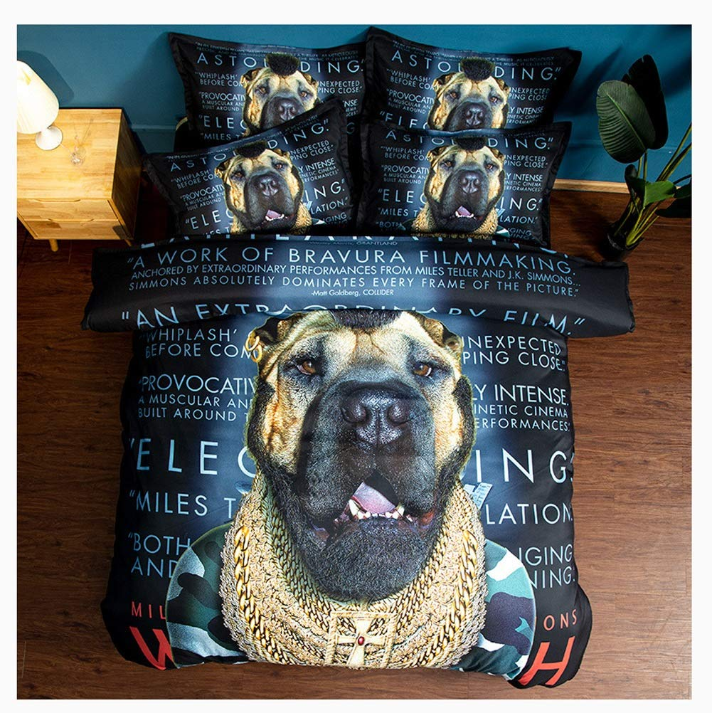 Bedding Duvet Cover Set Bedding Set Duvet Cover with Zipper Closure Soft Duvet Protector 3D Printing Cool Dog and Cat 5 Styles (Color : E, Size : 173x218cm) by OZYN-Duvet Covers