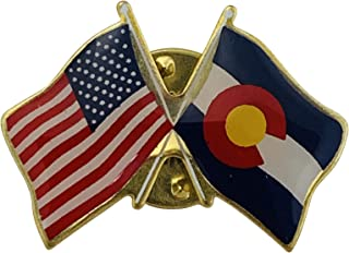 product image for Gettysburg Flag Works Colorado & U.S. Crossed Flags Double Waving Friendship Lapel Pin - Made in The USA
