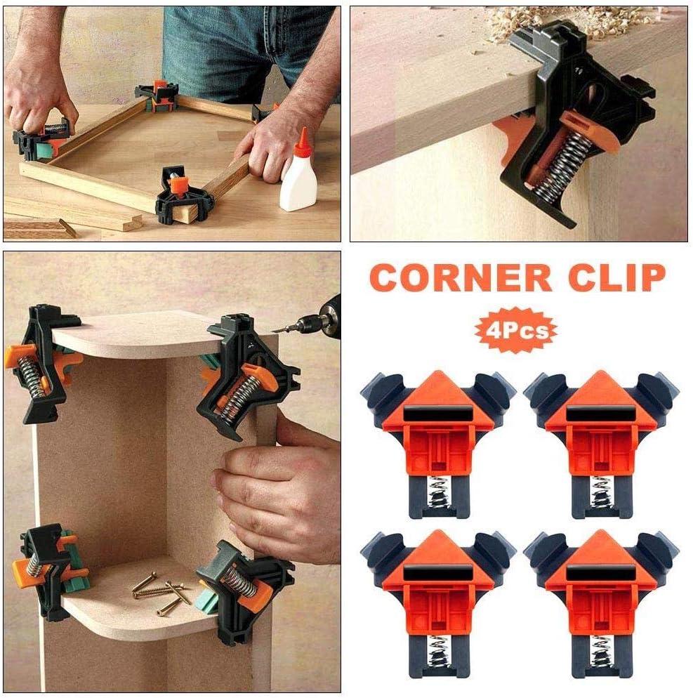 ingenier/ía enmarcado de fotos herramienta de sujeci/ón de clip de esquina para carpintero multifunci/ón Juego de 4 abrazaderas de /ángulo recto mango /único abrazadera de esquina de 90/° soldadura