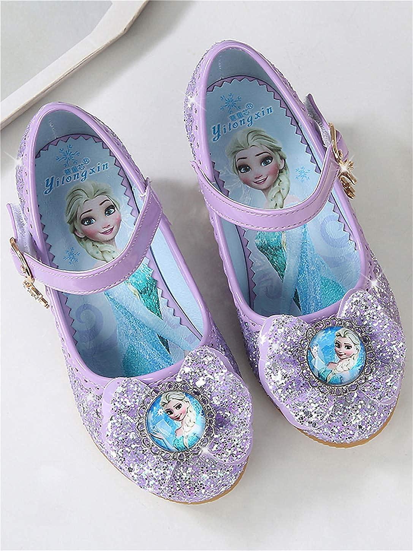 YOSICIL Disfraz Princesa Zapatos Frozen Elsa Zapatos de Lentejuelas Antideslizante Ni/ñas Zapatos de Tac/ón Velcro Zapatillas de Baile para Vestir Fiesta Cumplea/ños Boda Infantil 3-14 A/ños