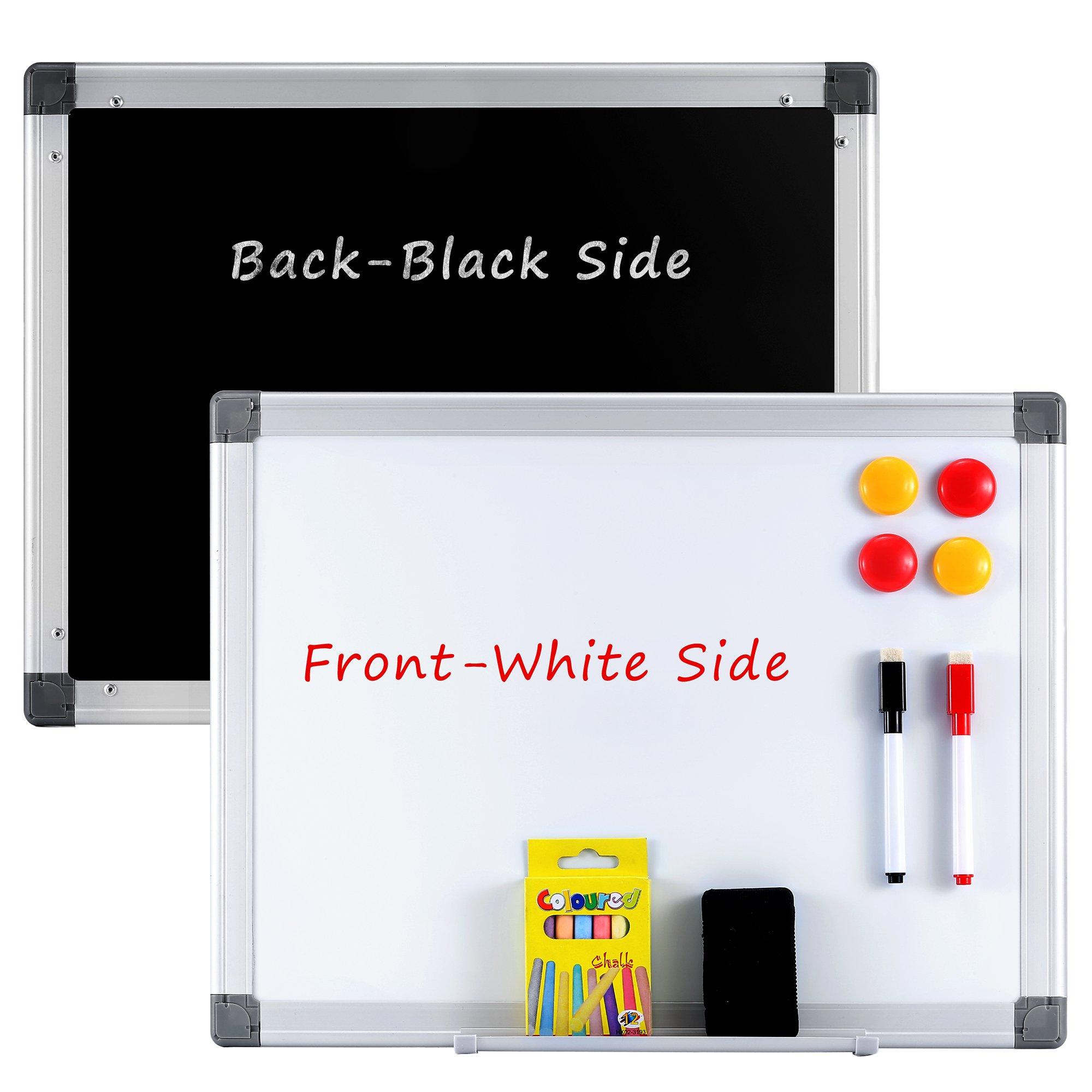 Famistar Double Side-Black+White Board Set 12.3''x 16.2'' Dry Erase Wall WhiteBoard Chalkboard Hanging Message Scoreboard For Home Kitchen Office School,Horizontal or Landscape