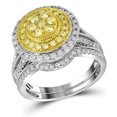 Amazon Com 14k White Gold Round Halo Yellow Diamond Engagement Ring