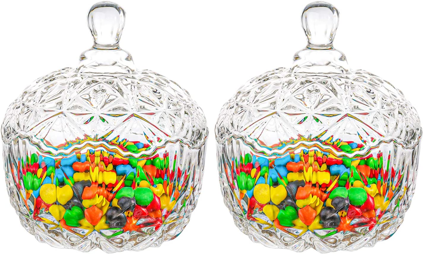 ComSaf Glass Candy Dish with Lid Decorative Candy Bowl, Crystal Covered Candy Jar for Home Office Desk, Set of 2(Diameter:4.1 Inch)