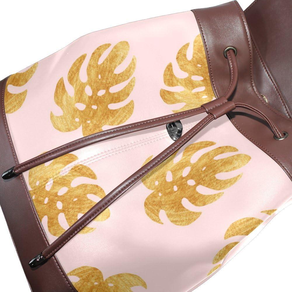 KUWT Shining Palm Leaf PU Leather Backpack Photo Custom Shoulder Bag School College Book Bag Rucksack Casual Daypacks Diaper Bag for Women and Girl
