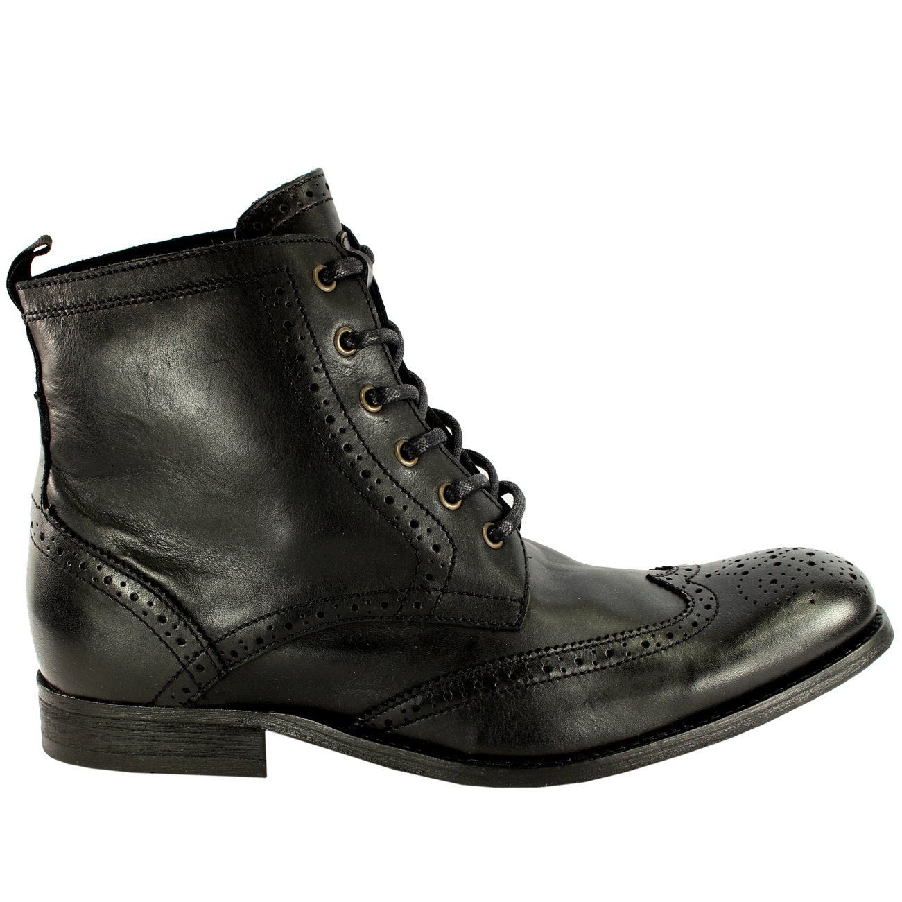 fdfca62d0cd2 Hudson Mens H Angus Brogue Leather Lace Up Smart Ankle Boots - Black - 13   Amazon.co.uk  Shoes   Bags