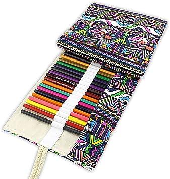 Tinksky - Estuche Enrollable de Tela de Colores con Capacidad para 48 lápices: Amazon.es: Electrónica