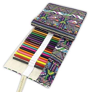Tinksky - Estuche enrollable de tela de colores con capacidad para 48 lápices