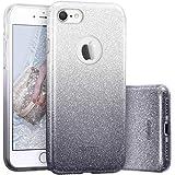 ESR iPhone 7 Cover con Brillantini/Glitters, Custodia Brillante Lucciante Luminosa [Elastica e Morbida] per Apple iPhone 7 (Argento/Nero)