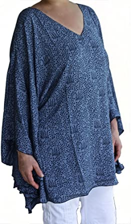 floral print size 1X-2X or 3X-4X Plus size poncho style top or tunic navy bluepurple or peachblue wool peach or rayon challis fabric