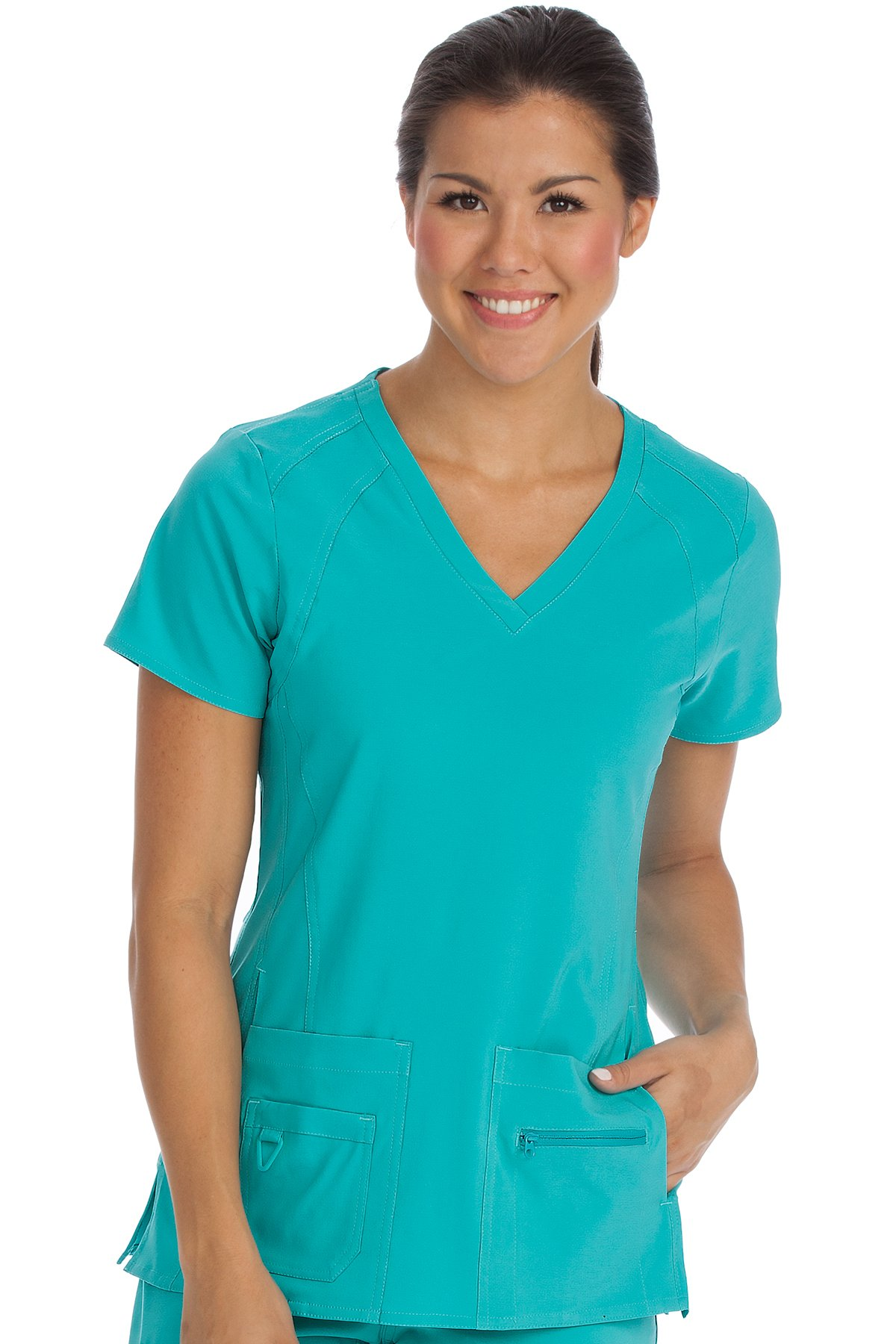Med Couture Activate Women's V-Neck Racerback Scrub Top, Aquamarine, XXX-Large by Med Couture