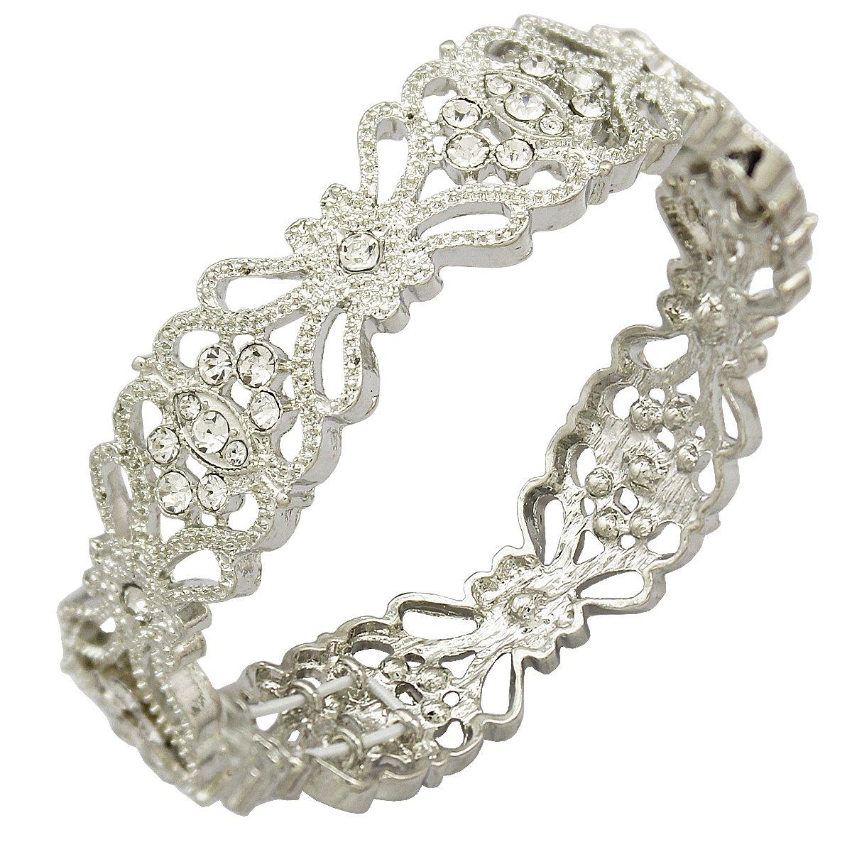 Q&Q Fashion Art Deco 20s 30s Flapper Gatsby Austria Crystal Bridal Silver Dangle Earrings 80005G