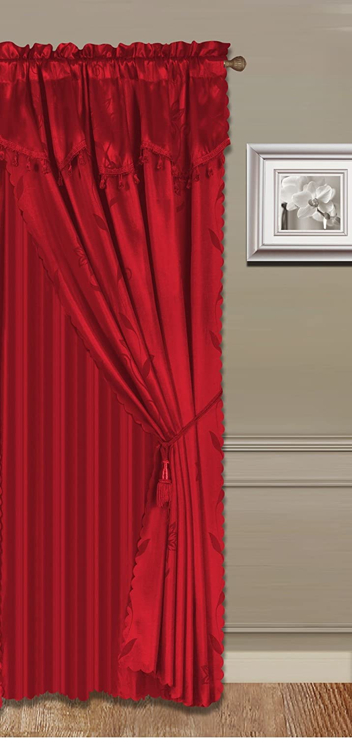 """GorgeousHomeLinen (Nada) 4ps Luxury Faux Floral Design Panel Rod Pocket Window Curtain Set, in Solid Colors in 63"""" 84"""" 95"""" 108"""" (84"""", RED)"""