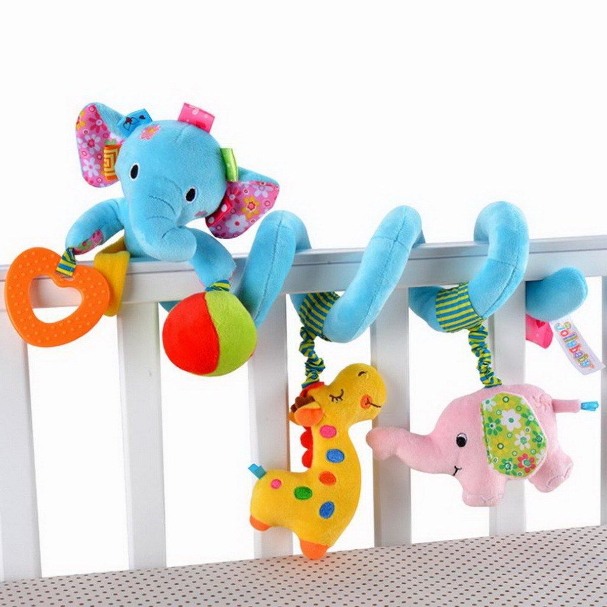 Elefant-Entwurf Säuglings-Baby-Activity-Spirale Bed & Kinderwagen Spielzeug-Bett rattert Glocke hängen Krippe Spielzeug, Blau Ahatech