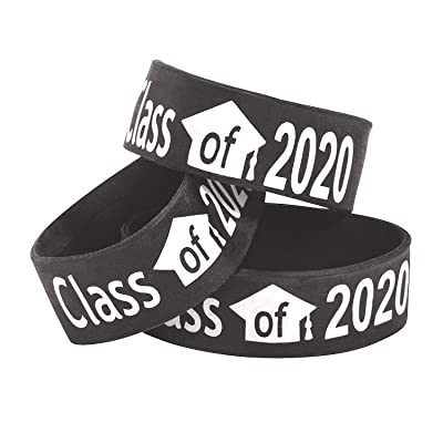 Fun Express Black Class of 2020 Big Band Bracelets - Jewelry - 12 Pieces: Toys & Games
