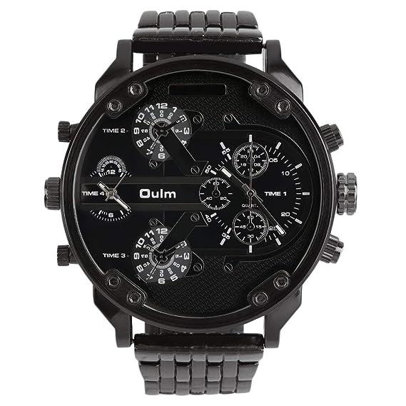 Oulm Hombres 2 Movimientos Reloj de Pulsera Deportivo con Correa Grande de Acero Inoxidable 3548 Reloj