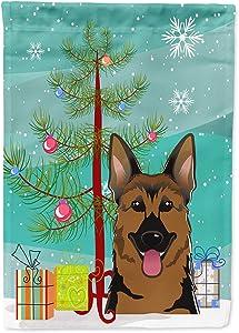 Caroline's Treasures BB1583GF Christmas Tree and German Shepherd Garden Flag, Small, Multicolor