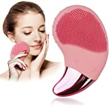 Benss Silicone Face Cleanser and Massager Brush Natural Silicone Face Scrubber with Eye Massage Pink
