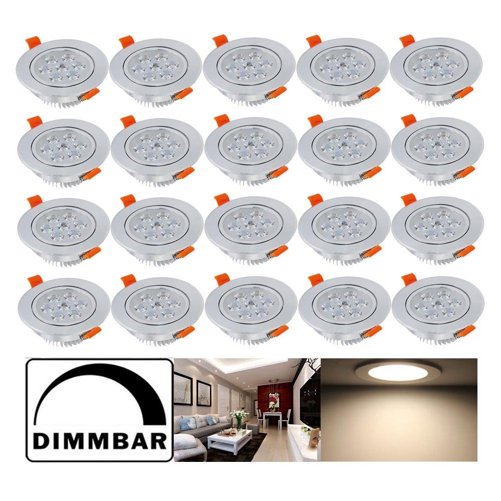 Hengda® 20 pcs 7W LED Einbauleuchte Dimmbar Warmweiß Unterbauleuchte Küchenlampen für Flur Wohnzimmer Schlafzimmer Einbauspot mit SMD Strahler set