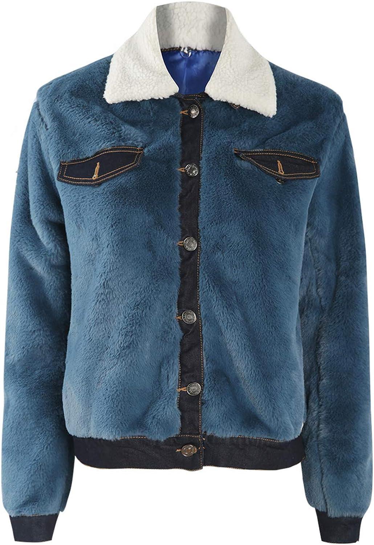 KISSMILK Women Large Size Multicoloured Faux Fur Denim Jacket