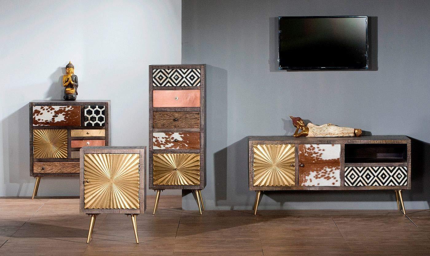 SIT-Möbel Mueble bajo de Madera de Mango con latón. Piel y ...