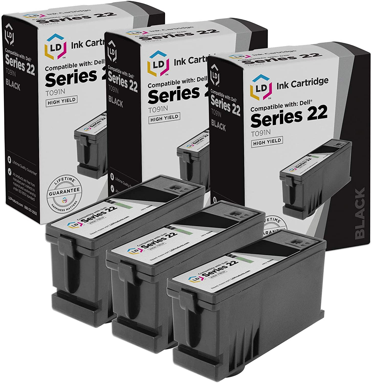 LD Compatible Ink Cartridge Replacement for Dell T091N Series 22 High Yield (Black, 3-Pack)