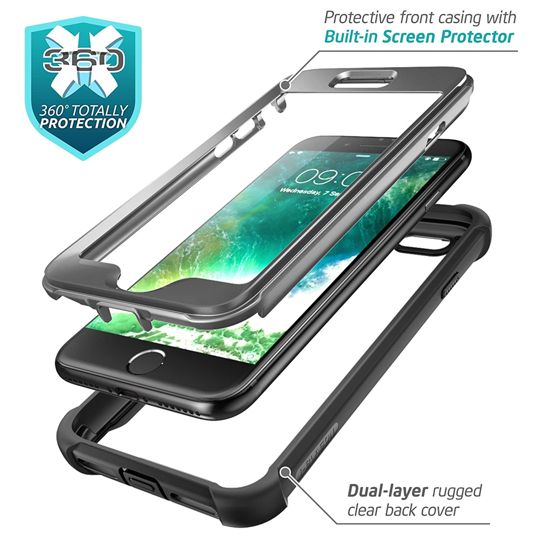 i-BLASON iPhone8 iphone7 ケース 液晶画面フィルム付き 全面保護 クリアケース