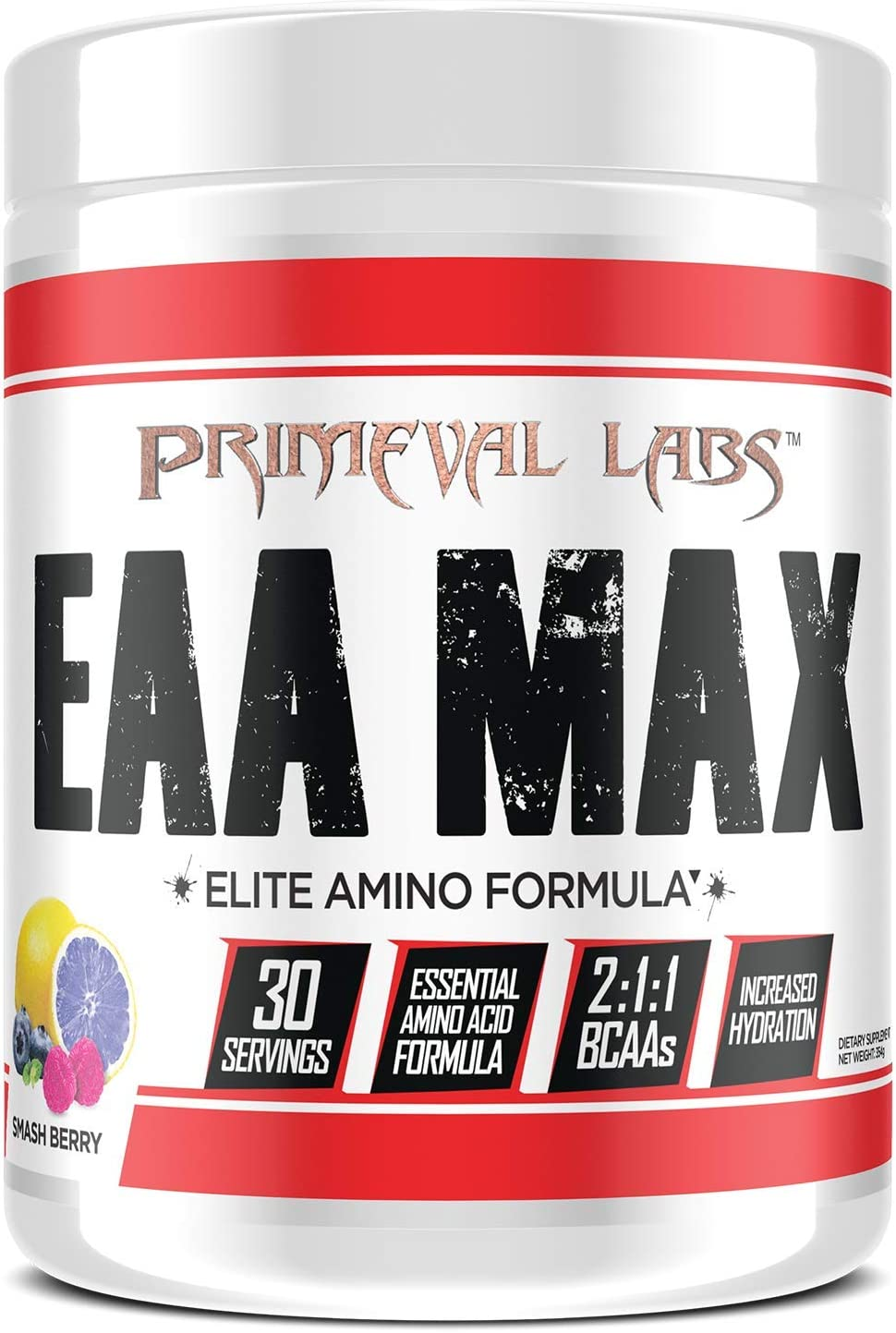 Primeval Labs EAA Max, Amino Acid Supplements, BCAAs, EAAs, Electrolytes, Enhances Performance, Supports Hydration, Improves Metabolism, Smash Berry, 30 Servings