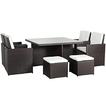 rattan essgruppe braun. Black Bedroom Furniture Sets. Home Design Ideas