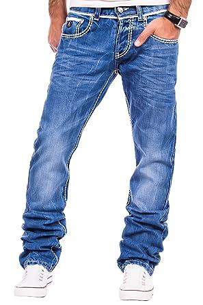 Tazzio Herren Jeans dicke Naht Clubwear Hose Cargo Style Dunkelblau W29 W38 L32 & L34 TZ 5047