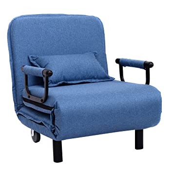 Giantex 266quot Convertible Sofa Bed Folding Arm Chair Sleeper Leisure Recliner Lounge Couch Blue