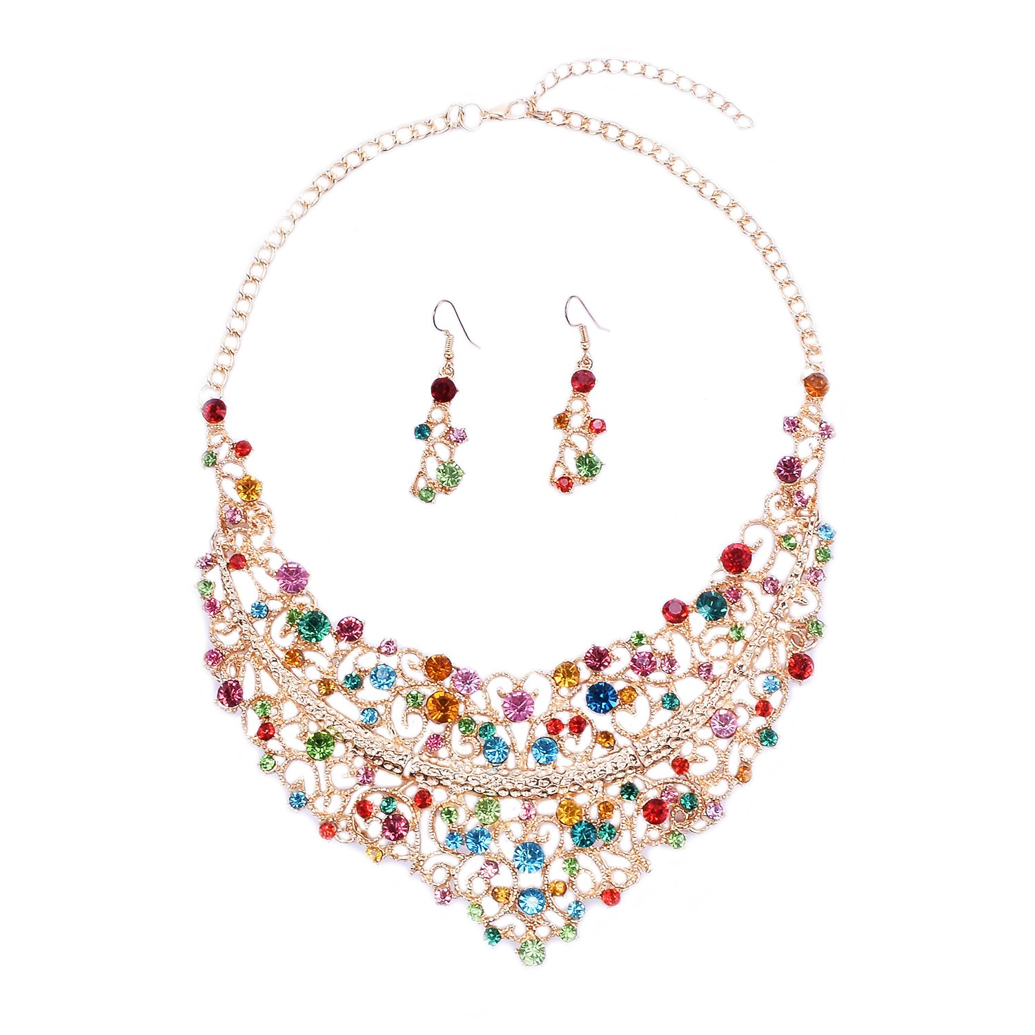 Women Alloy and Crystal Butterfly Necklace and Earring Set (1#Multicolor)