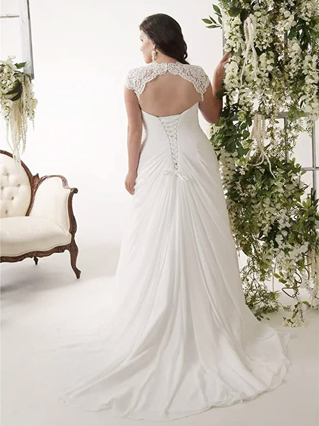 Aoturui Plus Größe Chiffon Perlen Hochzeitskleider Falten V ...