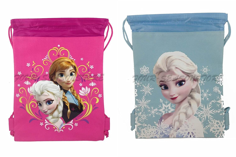 10403e00b45 Amazon.com  New Disney Frozen Queen Elsa Drawstring String Backpack School  Sport Gym Tote Bag!- Set of 2 Bags (Pink + Baby Blue)  Garden   Outdoor