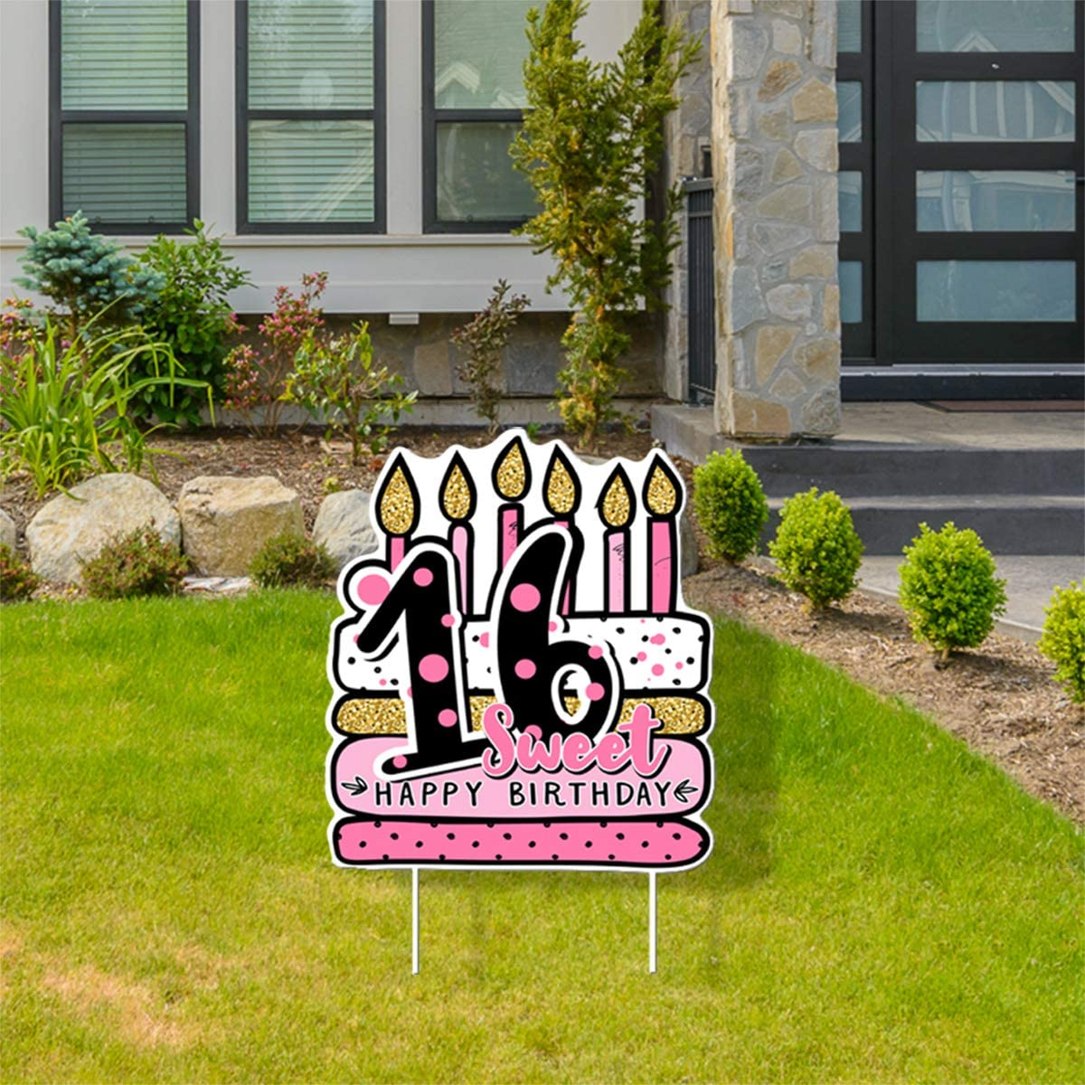 Haimimall Birthday Yard Signs with Stakes 16th Sweet Birthday Cake Yard Signs Outdoor 16th Lawn Decorations Home Party Decorations for Girls 16th Birthday Party Supplies.