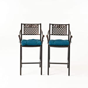 Great Deal Furniture Rachel Outdoor Barstool with Cushion (Set of 2), Shiny Copper and Dark Teal
