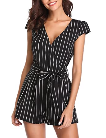 6d44d3215b96 Amazon.com  Wudodo Rompers for Women Summer Deep V Neck Cap Short Sleeve  Crossover Mid Rise Shorts Jumpsuit with Belt  Clothing