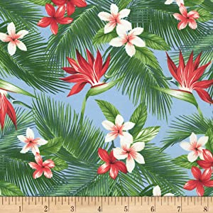 Kaufman Island Paradise Tropical Flowers Blue Quilt Fabric