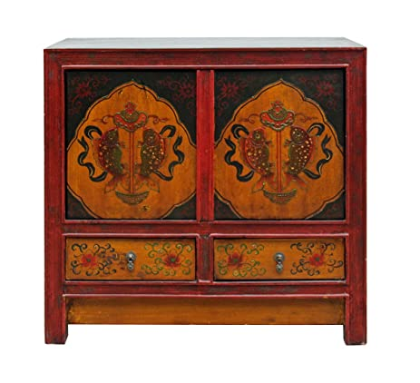 Chinese Multi Color Tibetan Double Fishes Motif Small Table Cabinet Acs2497