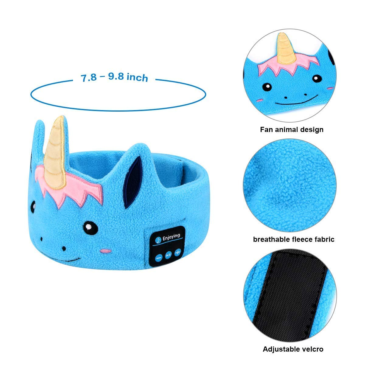 WU-MINGLU Kids Headband Headphones, Wireless Bluetooth Music Soft Fleece Headband Children\'s Headband Earphones Sleep Headphones Built-in Mic Adjustable Washable For Home, Travel