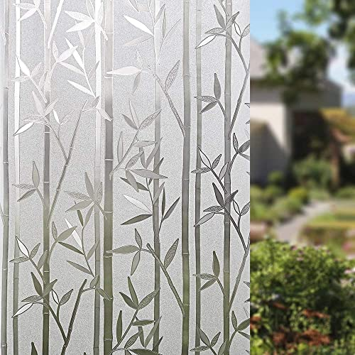 Finnez Window Film Bamboo 3D Decorative Privacy Glass Film Non-Adhesive for Room House Office 35.4 x 157.4 inches