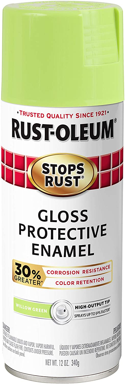 Rust-Oleum 3389326-PK Stops Rust Advanced Spray Paint, 6 Pack, Gloss Willow Green